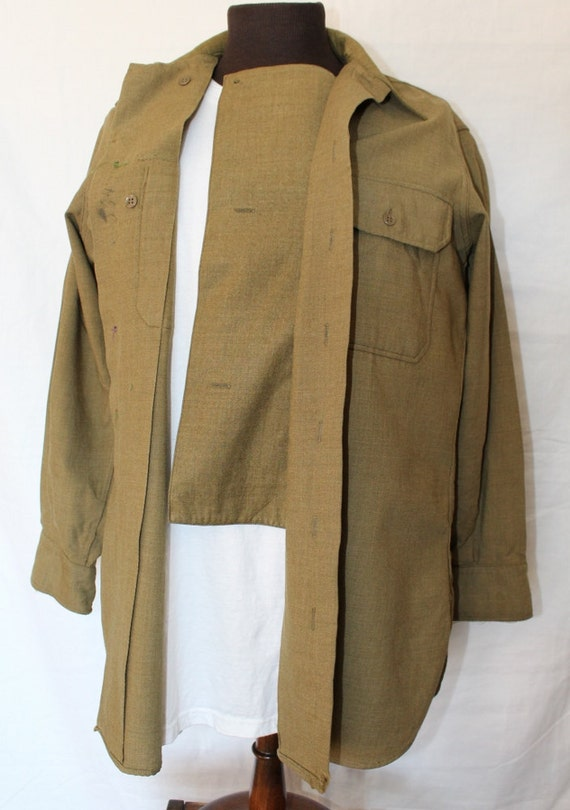 Vintage us military wool shirt with button down flap in front for Wool button down shirt