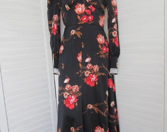 Maxi Dress, Black Print from 70s, Long Sleeve - Size M