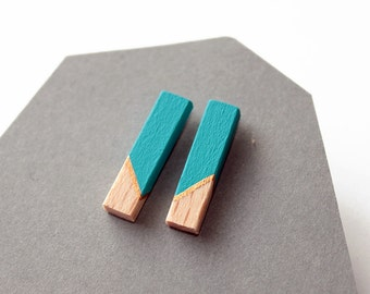 Geomeric rod stud earrings - turquoise blue, gold, natural wood - minimalist, modern hand painted wooden jewelry