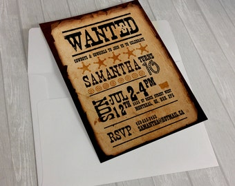 Custom Printable Wild West Wanted Invitations using your info
