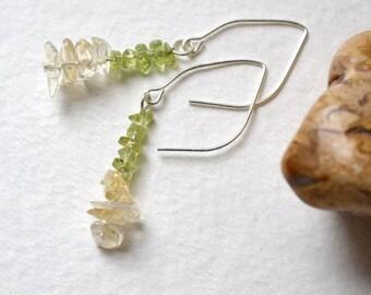 Goddess Tyche Citrine, Peridot Earrings - Silver Ear Wires - Handmade - Free US Shipping, Metaphysical Healing Gemstones, Abundance, Crystal
