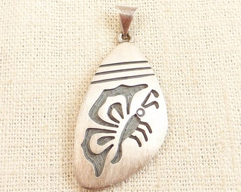 Vintage Brushed Mexican Sterling Stamped Butterfly Pendant