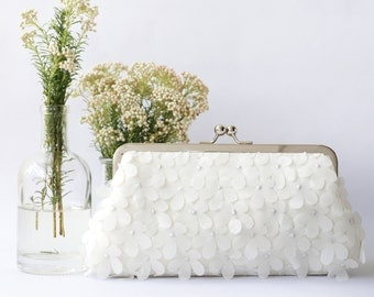 Ivory Chiffon Floral Clutch for Bride, Bridesmaid, Mothers | Hydrangeas