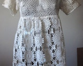 Vintage Cream White Crochet Baby Doll Tunic Top Size Medium