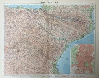 1958 Vintage Map of Spain, Northeast Part - Large Map of Spain - Inset of Madrid