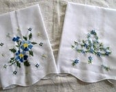 Hand Embroidered Tea Towel, Set of 2 Towels, Towels with Embroidery, White Tea Towels