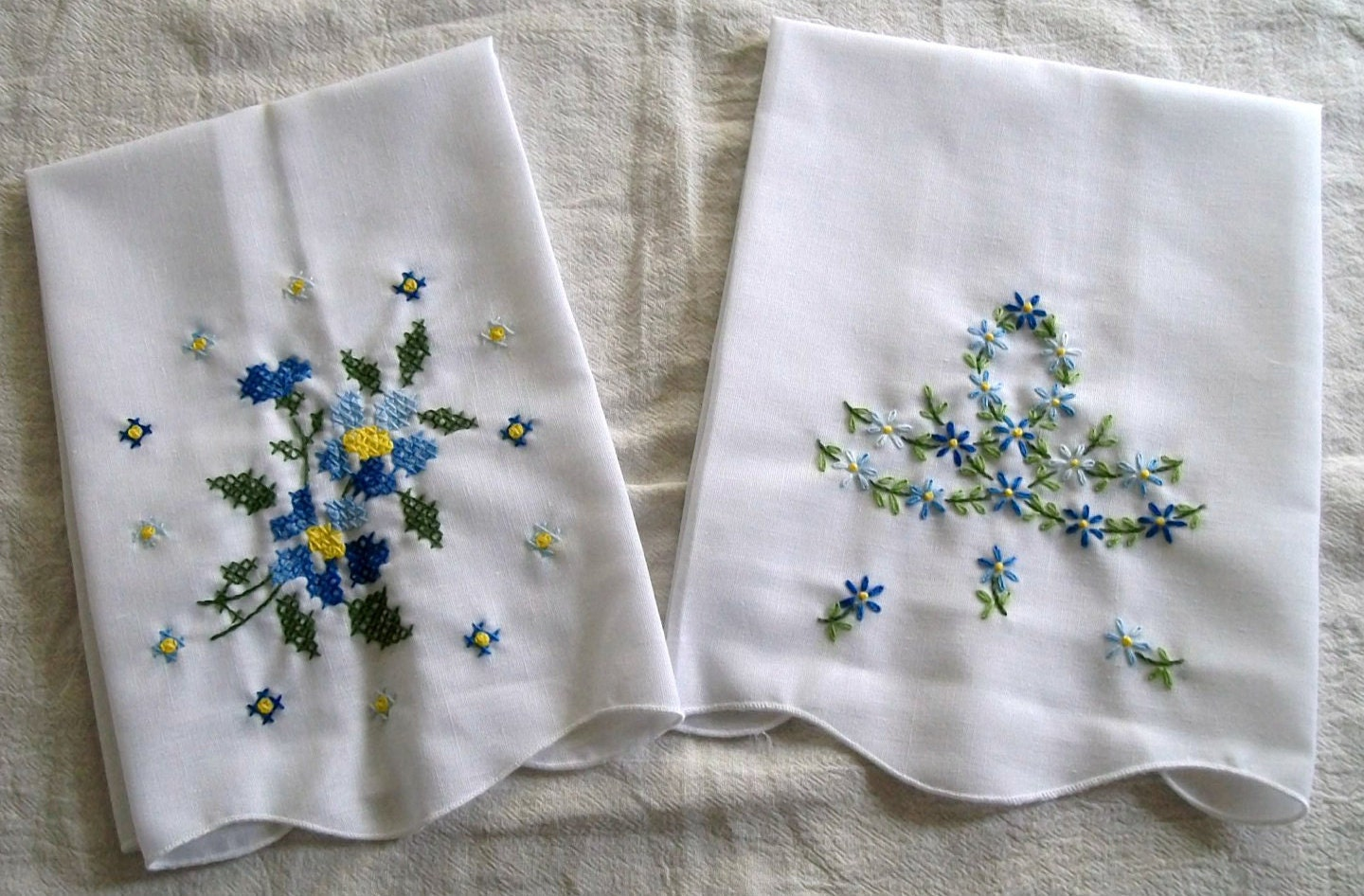 Hand Embroidered Tea Towel Set Of 2 Towels By
