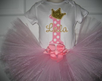 Baby girl pink and gold princess tutu set, pink and gold outfit, princess personalized tutu
