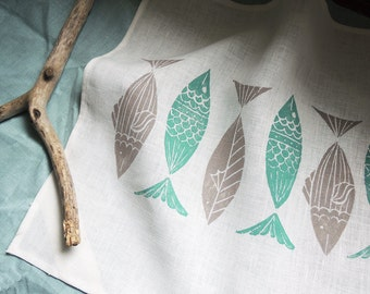 Anchovies fish hand block printed nautical modern home decor white linen tea towel