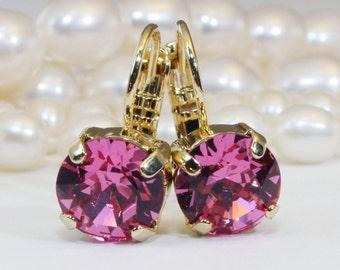 Pink Crystal Earrings Pink Gold Drop Earrings Pink Swarovski Rhinestones Pink Wedding Rose Pink bridesmaids Pink single stone ,Gold,Rose,GE2