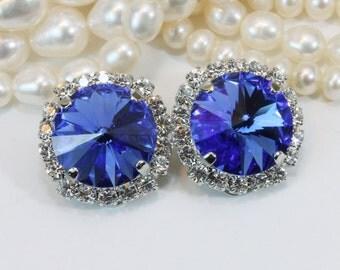 Sapphire Blue Crystal Clip earrings Royal Blue Clip Ons Electric Blue Swarovski Earrings Bridal Wedding Clear Halo,Silver,Sapphire,SE111