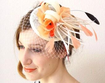 Coral salmon fascinator  - cream sinamay fascinator mini hat SALMON CREAM
