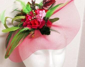 Kentucky Derby Fascinator Hot Pink Fascinator Hat  Fuchsia Raspberry Fascinator Green Wedding Hat MELINDA