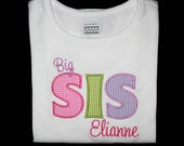Custom Personalized Applique Big, Middle, or Little SISTER and NAME Bodysuit or Shirt - Pink, Lime, and Purple Gingham