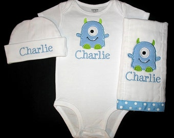 Custom Personalized Applique MINKY MONSTER and NAME Bodysuit, Burp Cloth, and Hat Set - Lt Blue and Lime Green
