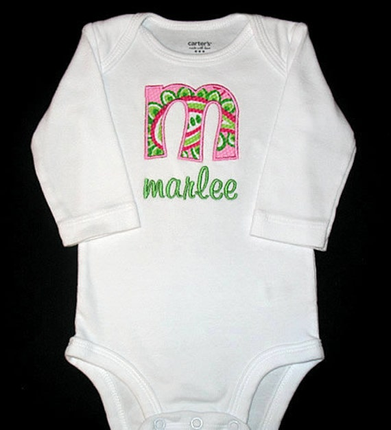 Custom Personalized APPLIQUE INITIAL and NAME Bodysuit or Shirt - Paisley Dream - Pink and Lime Green