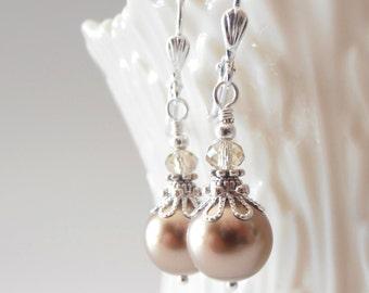 Swarovski Pearl Earrings Champagne Pearl Dangles Light Bronze Wedding Earrings Bridesmaid Jewelry Beaded Earrings Gift for Bridesmaid Silver