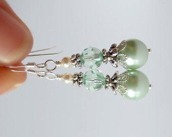 Mint Pearl Wedding Earrings Bridesmaid Jewelry Mint Wedding Pastel Green Pearl Drop Earrings Wedding Jewelry