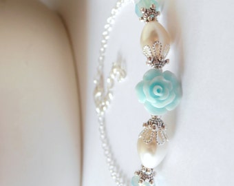 Seafoam Bridesmaid Jewelry, Light Aqua Beaded Bracelet, Flower Bead Wedding Jewelry Sets, Delicate Bridal Jewelry, Bridesmaid Bracelets, Spa