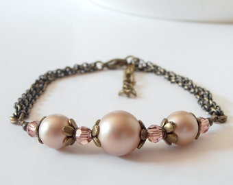 Pearl Bracelet, Rustic Wedding Jewelry, Blush Pink Swarovski Pearl Bridesmaid Jewelry, Antiqued Bronze, Chain Bracelet, Bridesmaid Bracelet