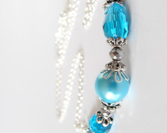 Bright Blue Wedding Jewelry, Bridesmaid Necklaces, Beaded Front Section with Silver Chain, Pearl and Crystal Bridesmaid Sets, Beach Weddings