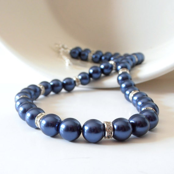 collier femme bleu marine