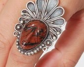 Vintage Native American Ring JASPER & Sterling Silver INDIAN CHIEF Ring