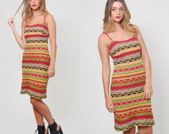 Vintage 90s BODY CON Dress Bright Color Stripe Dress  Knit Zig Zag RAINBOW Stripe Summer Dress