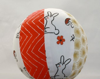 Toy Rattle Ball - Woodland Bunny with Red Chevron - Organic Cotton with Metallic Gold