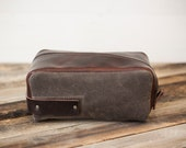 Leather and Waxed Canvas Toiletry Bag // large dopp kit by fullgive
