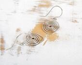 Sterling Silver Earrings, Silver Spiral Earrings, Artisan Jewellery, Simple Earrings, Everyday Jewellery, Small Drop Earrings
