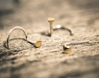 14k Solid Gold and Sterling Silver Square Nose Stud - Small and Simple and Flat