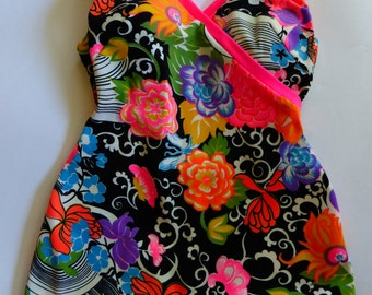 Vintage Groovy Psychedelic 60s Swimsuit neon floral SZ M/L