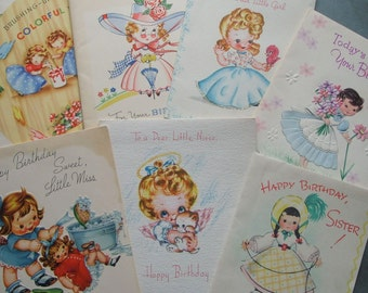 7 Vintage Birthday Greeting Cards with Cute Little Girls