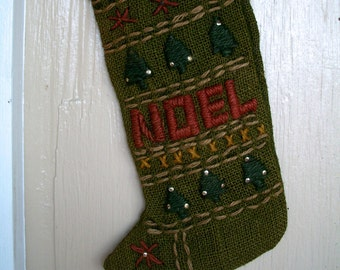 Vintage Noel Stocking Christmas Burlap Embroidered  Green And Red 13 X 5 Inches