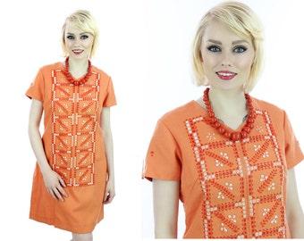 Vintage Embroidered 60s Dress Mod Aline Bright Orange Floral Details 70s 1960s Hippie Boho Medium M Large L