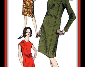 Vintage 1965-New York City MOD STYLE Dress-Vogue Sewing Pattern-Three Styles-Seam Detail-Front Bow Tie-Sleeveless-Long Sleeves-Size 18-Rare