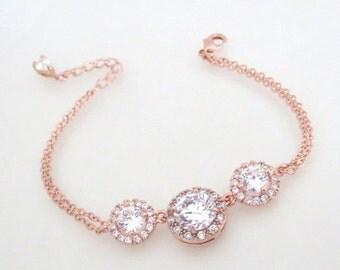 Rose Gold Bangle bracelet, Rose Gold Bridal bracelet, Rose Gold Bridesmaid bracelet, Wedding jewelry, Crystal bracelet, Simple bracelet