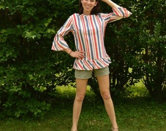 60s Red White and Blue Patriotic Striped Blouse
