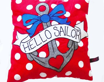 Nautical Tattoo Pillow, Retro Style Appliqué Pillow, Throw Pillow with Anchor Tattoo, Polka Dot Cushion, Novelty Throw, Anchor Pillow