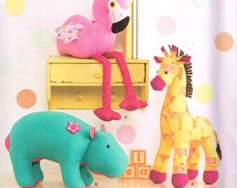 Stuffed Toy Sewing Pattern Flamingo Bird Hippo Giraffe Plush Dolls Craft Simplicity 1082 Soft Plushie