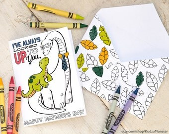 "INSTANT DOWNLOAD Fathers Day Card Coloring page longneck dinosaur printable craft classroom daycare activity. ""I've always looked up to you"""
