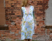 Vintage V Neck Floral Print Dress~Garden Dress with Pockets~Sleeveless Dress~Knee Length Dress~Casual Dress~Day Dress~Sexy Dress~Plus Size