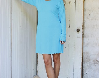 Organic Long Sleeve Tunic Dress - Made to Order - Organic Cotton Blend - Choose Your Color - Eco Fashion