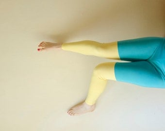 Colorblock Leggings in Solid Color Teal And Yellow, Color block fashion, Footless tights, Plus Size Available