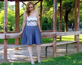 50% Off Sample Sale Strapless Dress Chevron Pink Grey Cotton Summer Bandeau Full Skirt Dress Bridesmaids Wedding Prom Made to Measure