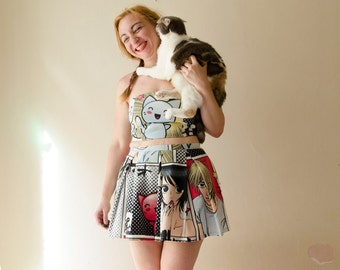 Crop Top Dress Set Manga Cat Print Graphic Crop Top and Skirt Set Pop Art Dress Cat Anime Cosplay