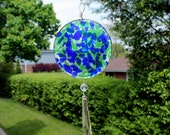Fused Glass Suncatcher with Reclaimed Crystal Prisms in Cobalt Blue and Leaf Green Confetti
