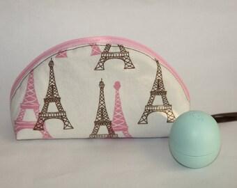 Pink/Brown Eiffel Tower Dumpling Purse - Small