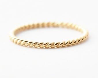 18K Gold Ring:  Braided Wedding Band for Women